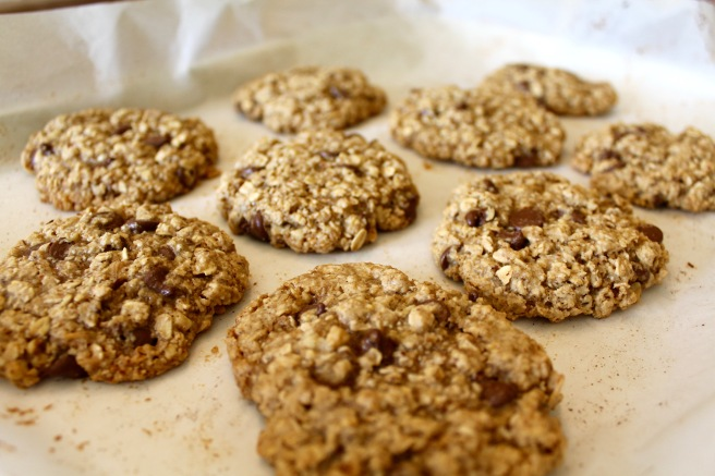 Vegan Oatmeal Walnut Chocolate Chip Cookies