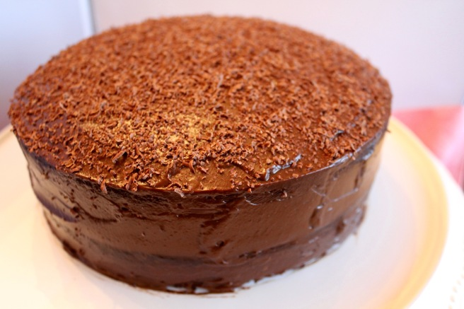 Double Layer Chocolate Cake with Chocolate Avocado Frosting