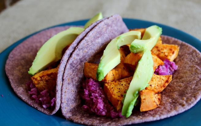 Sweet Potato Tacos with Red Cabbage Apple Slaw