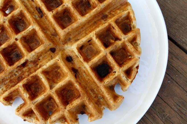 Chocolate Chip Banana Bread Waffles