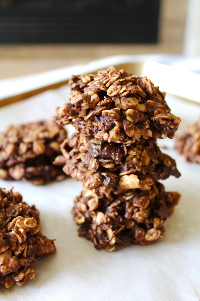 Double Chocolate Oatmeal Banana Walnut Breakfast Cookies