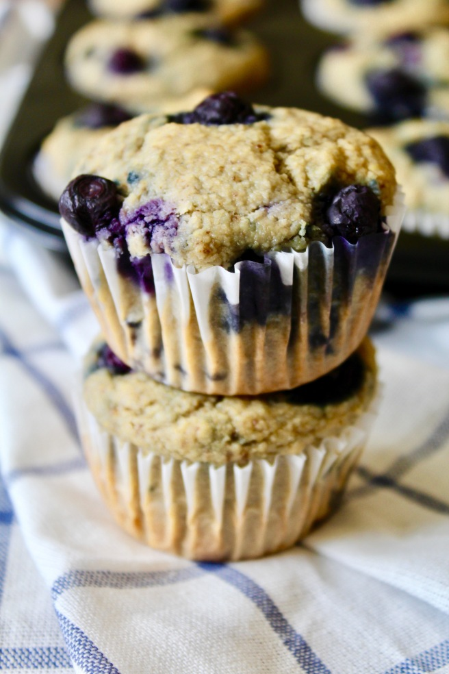 Blueberry Lemon Muffins (vegan, gf, oil-free)